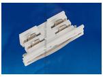 UBX-A11 WHITE 1 POLYBAG Соединитель для 2-х шинопроводов прямой внутренний. Трехфазный. Цвет — белый. Упаковка — полиэтиленовый пакет.
