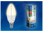 LED-C37-6W/WW/E14/FR/DIM PLP01WH Лампа светодиодная диммируемая. Форма свеча, матовая. Серия Palazzo. Теплый белый свет.