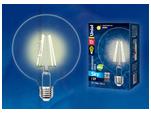 LED-G125-10W/WW/E27/CL PLS02WH Лампа светодиодная. Форма шар, прозрачная колба. Цвет свечения теплый белый. Серия Sky.