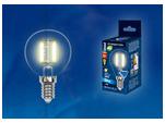 LED-G45-6W/WW/E14/CL PLS02WH Лампа светодиодная. Форма шар, прозрачная. Серия Sky. Теплый белый свет.