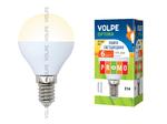 LED-G45-6W/WW/E14/FR/O Лампы светодиодные Volpe. Форма шар, матовая колба. Материал корпуса пластик. Цвет свечения теплый белый. Серия Optima.