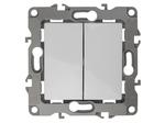Выключатель двойной, 10АХ-250В, без м.лапок, белый, 12-1004-01
