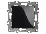 Выключатель двойной, 10АХ-250В, чёрный, 12-1104-06