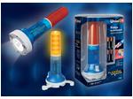 P-AT031-BB Amber-Blue Фонарь Uniel-offroad (Premium) «Flashing ranger», пластиковый корпус, XP-C Cree White LED, упаковка — цветной короб, 4хАА в/к, цвет янтарн...