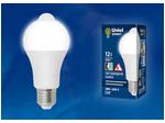 LED-A60-12W/4000K/E27/PS+MS PLS10WH Лампа светодиодная с датчиком освещенности и датчиком движения.  Форма A, матовая. Белый свет (4000K). Картон. ТМ Uniel