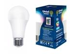 LED-A60-10W/RGB/E27/REG PLS21WH Лампа светодиодная с ИК сенсором. Форма А, матовая. RGB свет. Пульт ДУ (н/к). Картон. ТМ Uniel