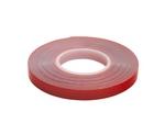 Скотч акриловый двусторонний 0,8*9 мм,длина 5м, прозрачный , красная подложка