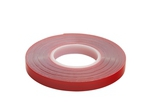 Скотч акриловый двусторонний 0,8*12 мм, длина 5м, прозрачный , красная подложка