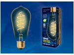 LED-ST64-4W/GOLDEN/E27/CW Лампа светодиодная Vintage. Форма конус, золотистая колба. Спиральная нить