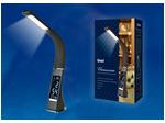 TLD-542 Black/LED/300Lm/5000K/Dimmer Светильник настольный c часами, календарем, термометром, 5W. Сенсорный выключатель. Черный (стилизован под кожу).