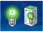 LED-G45-5W/GREEN/E27 GLA02GR Лампа светодиодная. Форма шар. Серия Air color. Зеленый свет.