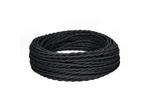Ретро-провод монтажный витой ПВХ 2x0,75мм, черный