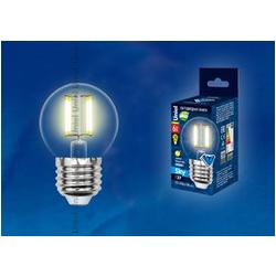 LED-G45-6W/WW/E27/CL PLS02WH Лампа светодиодная. Форма шар, прозрачная. Серия Sky. Теплый белый свет.