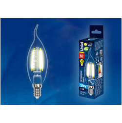 LED-CW35-6W/WW/E14/CL PLS02WH Лампа светодиодная. Форма свеча на ветру, прозрачная. Серия Sky. Теплый белый свет.