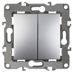 Выключатель двойной, 10АХ-250В, алюминий, 12-1104-03