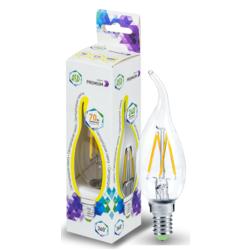 Лампа светодиодная LED-СВЕЧА НА ВЕТРУ-PREMIUM 7Вт 160-260В Е14 3000К 630Лм прозрачная. Теплый белый
