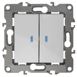 Выключатель двойной с подсветкой, 10АХ-250В, белый, 12-1105-01