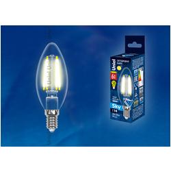 LED-C35-6W/NW/E14/CL PLS02WH Лампа светодиодная. Форма свеча, прозрачная. Серия Sky. Белый свет.