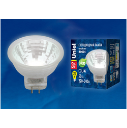 LED-MR11-3W/NW/GU4/220V GLZ21TRЛампа светодиодная, 220V. Прозрачная. Белый свет (4000K).