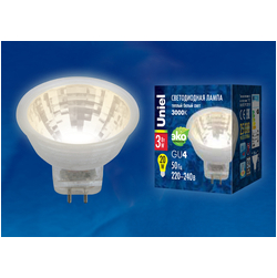 LED-MR11-3W/WW/GU4/220V GLZ21TRЛампа светодиодная, 220V. Прозрачная. Теплый белый свет (3000K).
