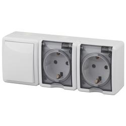 Блок две розетки+выключатель IP54, 16АХ(10AX)-250В, ОУ, Эксперт, белый,  11-7403-01