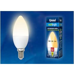 LED-C37-6W/WW/E14/FR/MB PLM11WH Лампа светодиодная. Форма «свеча», матовая. Серия Multibright. Теплый белый свет (3000K). 100-50-10.