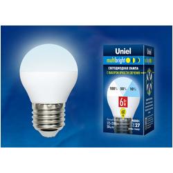 LED-G45-6W/NW/E27/FR/MB PLM11WH Лампа светодиодная. Форма «шар», матовая. Серия Multibright. Белый свет (4000K). 100-50-10.