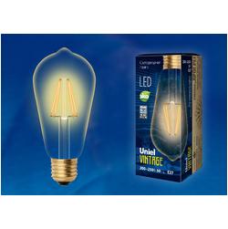 LED-ST64-5W/GOLDEN/E27 GLV22GO Лампа светодиодная Vintage. Форма «конус», золотистая колба