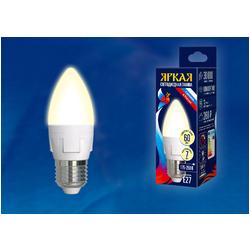 LED-C37 7W/WW/E27/FR PLP01WH Лампа светодиодная. Форма «свеча», матовая. Серия ЯРКАЯ. Теплый белый свет (3000K).