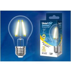 LED-A60-7W/WW/E27/CL/DIM GLA01TR Лампа светодиодная диммируемая. Форма A, прозрачная. Серия Air. Теплый белый свет (3000K)