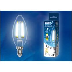 LED-C35-5W/NW/E14/CL/DIM GLA01TR Лампа светодиодная диммируемая. Форма свеча, прозрачная. Серия Air. Белый свет (4000K).