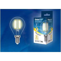 LED-G45-5W/WW/E14/CL/DIM GLA01TR Лампа светодиодная диммируемая. Форма шар, прозрачная. Серия Air. Теплый белый свет (3000K).