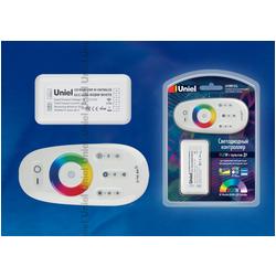 ULC-G50-RGBW WHITE Контроллер для управления многоцветным и белым светодиодными источниками света 12/24B с пультом ДУ 2,4ГГц. Цвет пульта белый.