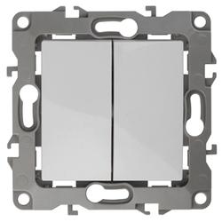 Выключатель двойной, 10АХ-250В, слоновая кость, 12-1104-02