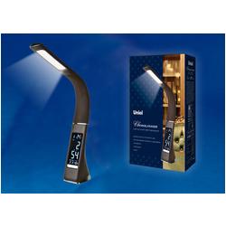 TLD-542 Brown/LED/300Lm/5000K/Dimmer Светильник настольный c часами, календарем, термометром, 5W. Сенсорный выключатель. Коричневый (стилизован под кожу).