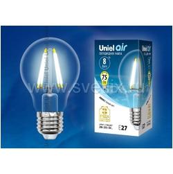 LED-A60-8W/NW/E27/CL GLA01TR Лампа светодиодная. Форма A, прозрачная. Серия Air. Белый свет (4000K).