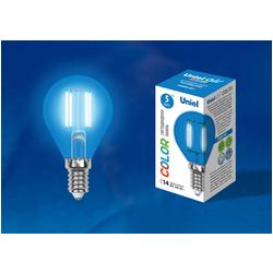 LED-G45-5W/BLUE/E14 GLA02BL Лампа светодиодная. Форма шар. Серия Air color. Синий свет.