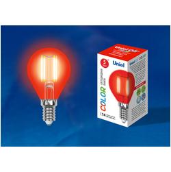 LED-G45-5W/RED/E14 GLA02RD Лампа светодиодная. Форма шар. Серия Air color. Красный свет.
