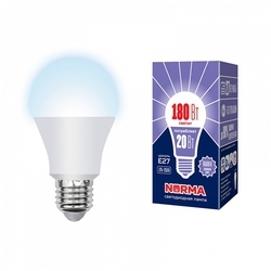 LED-A65-20W/NW/E27/FR/NR Лампа светодиодная. Форма A, матовая. Серия Norma. Белый свет (4000K).