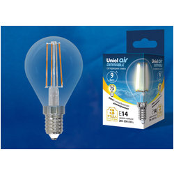 LED-G45-9W/3000K/E14/CL/DIM GLA01TR Лампа светодиодная диммируемая. Форма шар, прозрачная. Серия Air. Теплый белый свет (3000K).