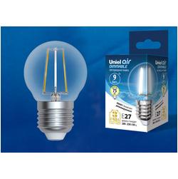 LED-G45-9W/4000K/E27/CL/DIM GLA01TR Лампа светодиодная диммируемая. Форма шар, прозрачная. Серия Air. Белый свет (4000K).