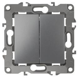Выключатель двойной, 10АХ-250В, графит 12-1104-12